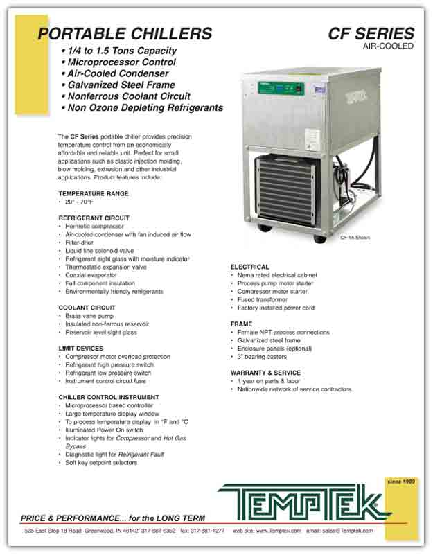Air-Cooled Portable Water Chiller Product Literature for Temptek CF Series .25 - 1.5 tons